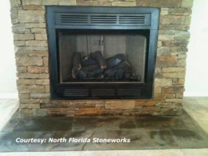 High Country Stone finished fireplace