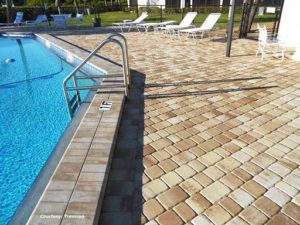 Stone paved pool deck