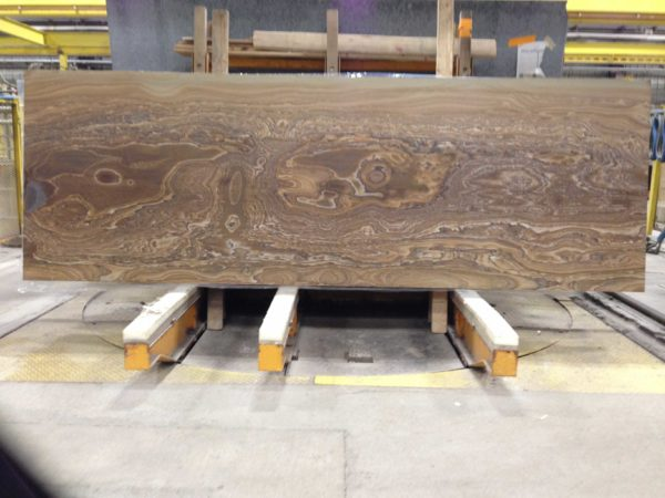 Leather finish Oak Canyon Slab in a Warehouse