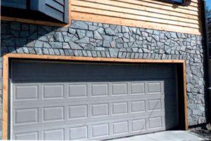 Grey Stone Accented Garage